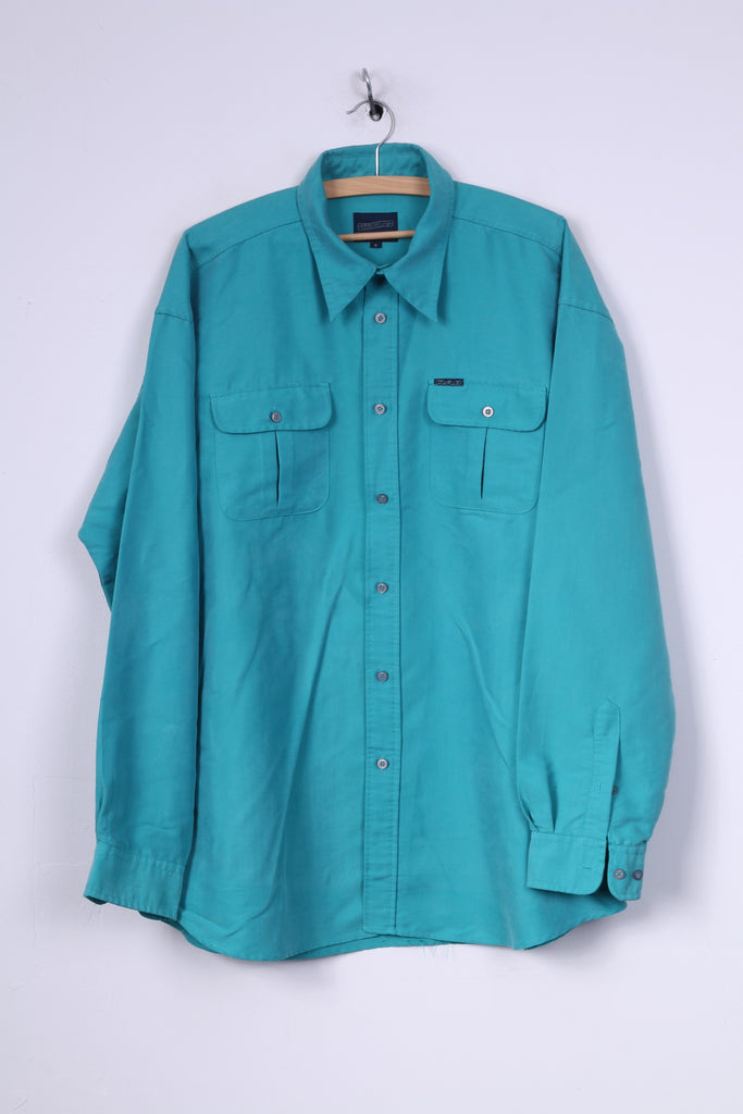 DAB Dickens and Browne Mens 5 2XL Casual Shirt Green Long Sleeve Vintage