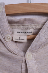 DKNY Jeans Mens S Long Sleeved Shirt Beige Cotton Hooded Detailed Buttons
