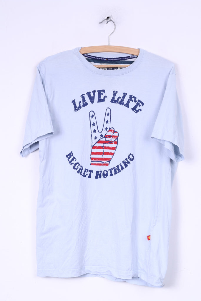 Joe Browns Dynamic Tees Mens M T-Shirt Crew Neck Graphic Blue Live Life Regret Nothing