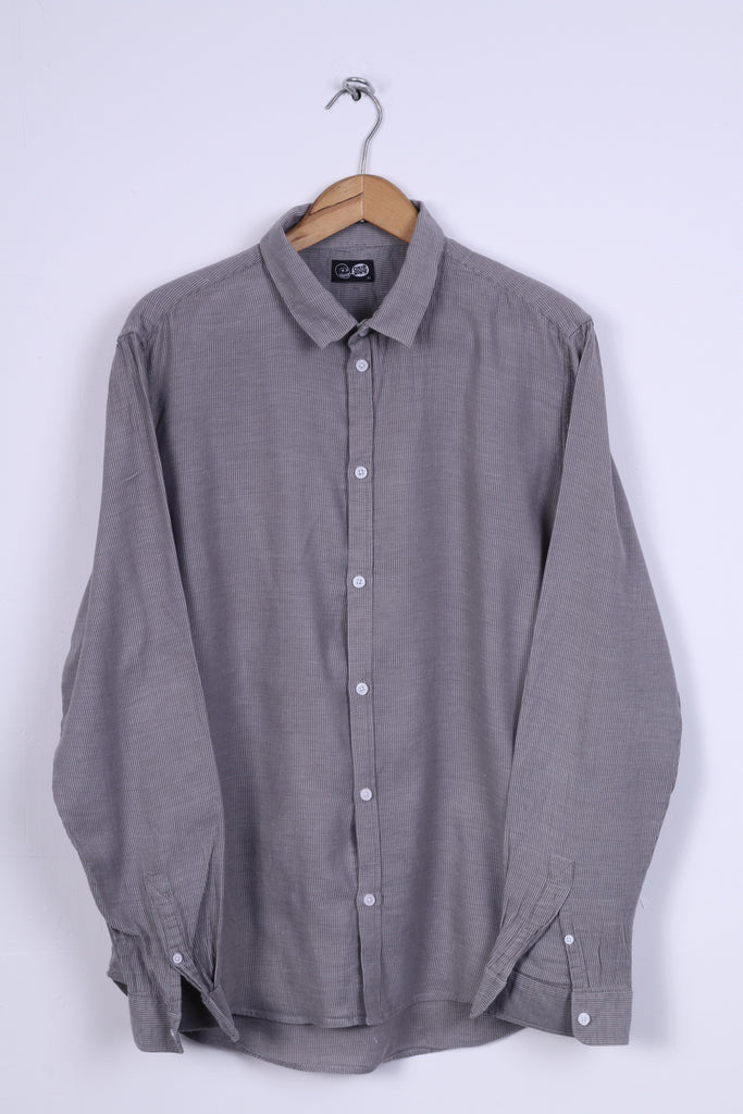 Cheap Monday Mens XL (L) Casual Shirt Cotton Grey Striped Detailed Buttons Long Sleeve