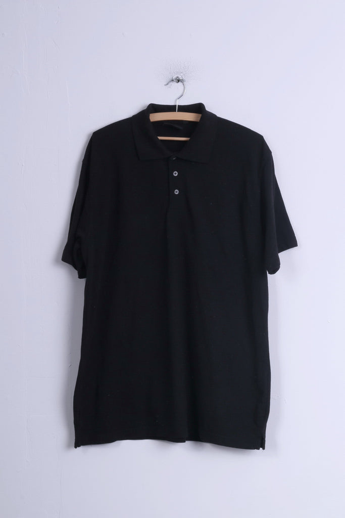Dickies Mens 2XL Polo Shirt Black Cotton Plain Detailed Buttons