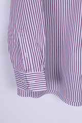Paul R. Smith Mens 44 XL Casual Shirt Cotton Burgundy Striped Detailed Buttons