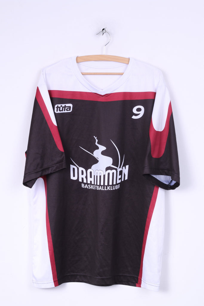 Tuta Drammen Mens 3XL Shirt Jeresy Sportswear V Neck Black Basketballkubb#9