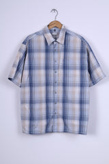 Angelo Litrico C&A Mens 45/46 XXL Casual Shirt Blue Chekered Cotton
