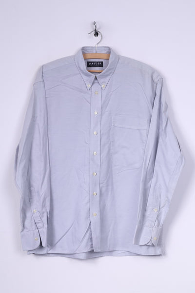 Jaeger Mens L Casual Shirt Blue Button Down Collar Long Sleeve