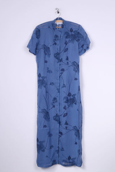 Therese Baumaire Womens 2 M Dress Blue Stad Up Collar Transparent Vintage