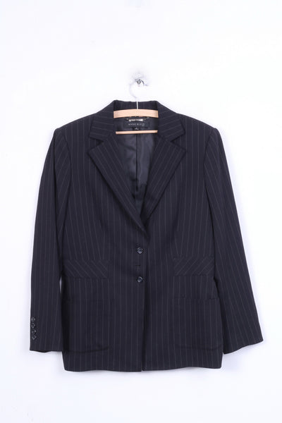 ANNE KLEIN Womens 14 XL Blazer Striped Black Single Breasted - RetrospectClothes