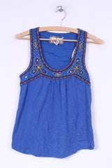 Jack BB Dakota Womens S Tank Top Shirt Blue Embroidered Collar Sleeveless Summer