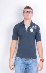 La Martina Mens M Polo Shirt Navy Blue Summer Short Sleeve Cotton - RetrospectClothes