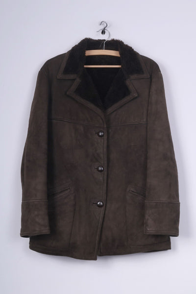 Real Suede Womens 16 XL Jacket Single Breasted Brown Vintage