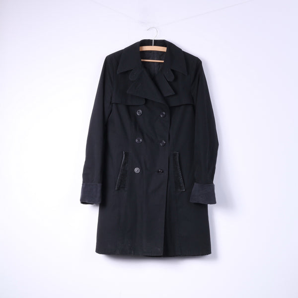 Fenno-Sport Womens 38 M Coat Padded Black Double Breasted Trench Top
