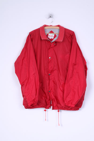 Perzoni Sportswear Mens L Jacket Red Nylon Waterproof Zippered Lightweight Top