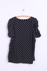 H&M Hennes& Mauritz Womens 2XL Shirt Short Sleeve Cotton Black Puffy Dots - RetrospectClothes