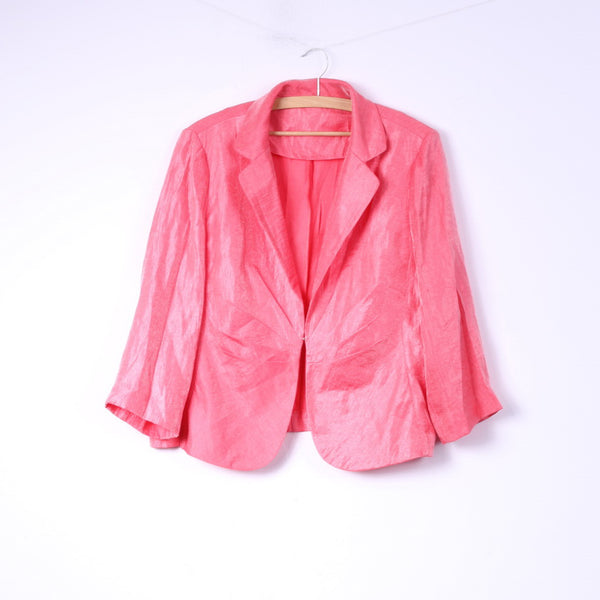 Womens XL Blazer Shiny Pink Shoulder Pads Jacket 7/8 Sleeve Top