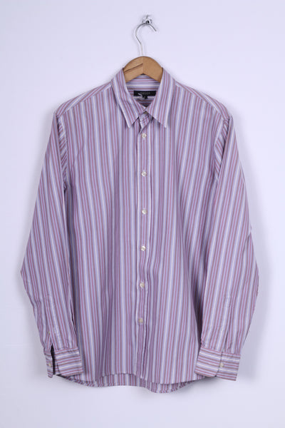 Jaeger Mens S Casual Shirt Striped Multi Detailed Button Cotton Long Sleeve