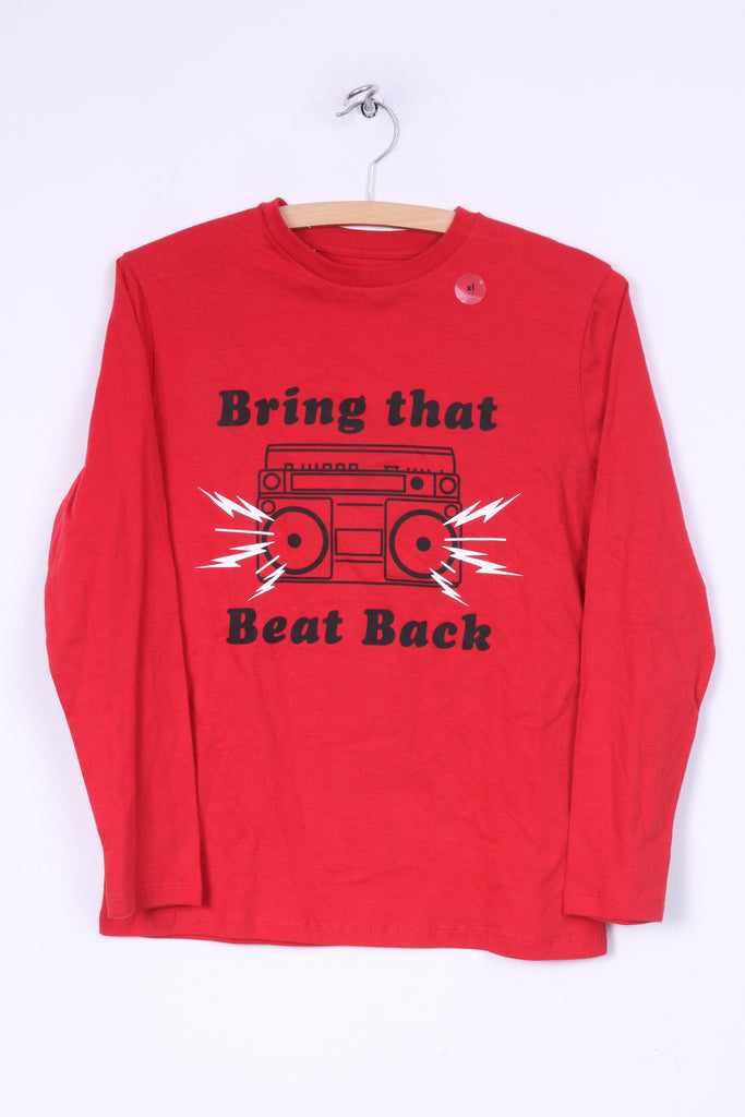 New Gap Kids Boys XL 12 Age 152/158 Shirt Long Sleeve Graphic Bring That Beat Back Red Cotton