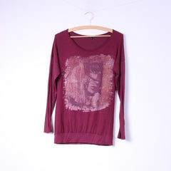 F de la passion Womens S Graphic Shirt Long Sleeve Maroon Crew Neck Top