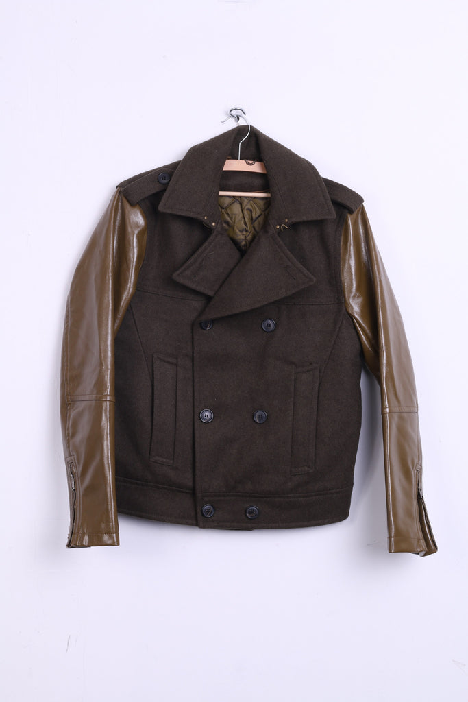 Womens S Jacket Dark Green Double Breasted Imitation Leather Cropped - RetrospectClothes