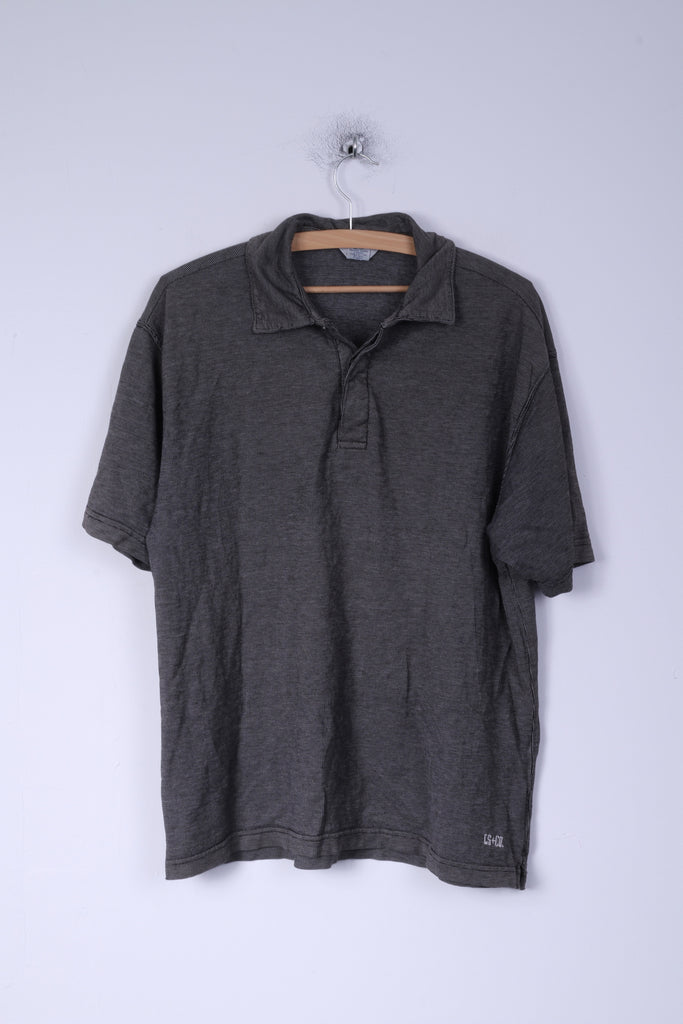 Levi's Dry Goods Mens L Polo Shirt Cotton Dark Grey Short Sleeve Lapel Neck