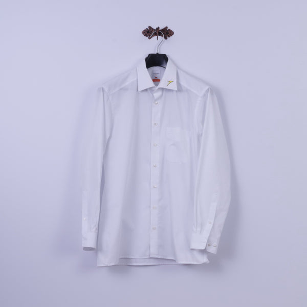 Olymp Luxor Mens L Casual Shirt White Cotton Modern Fit Long Sleeve Top