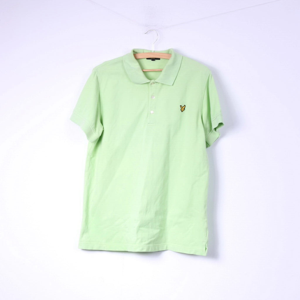 Lyle & Scott Club Mens XL (L) Polo Shirt Lime Green Buttons Detailed Top Cotton
