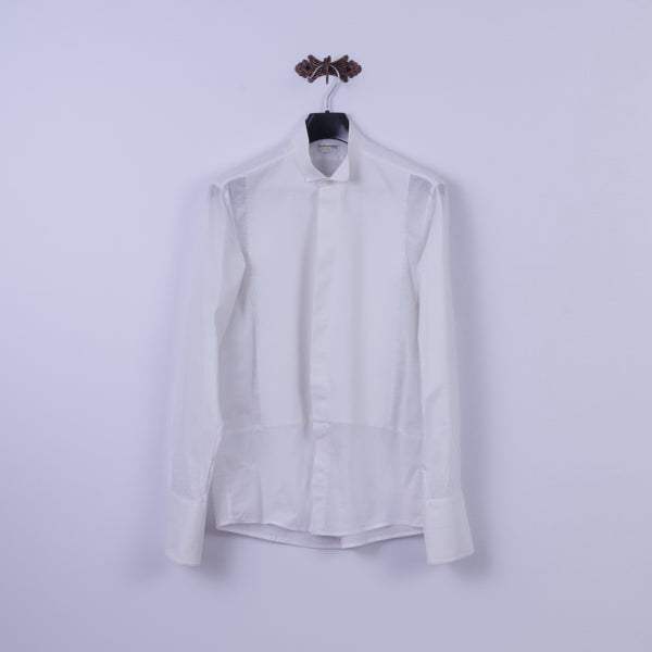 Seidensticker Austria SOIR Mens M Casual Shirt White Cotton Tyrol Long Sleeve Cuff Top