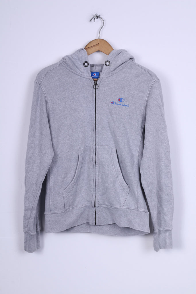 Champion Womens L Sweatshirt Cotton Grey Hooded Zip Up