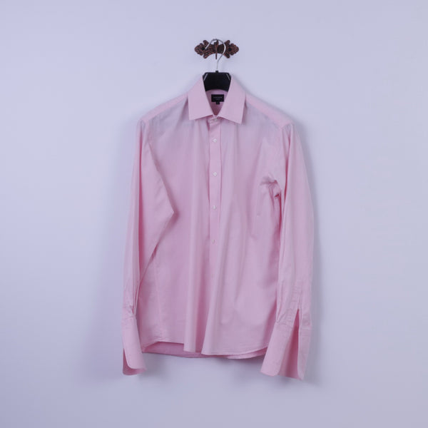 Jaeger Mens 16 L Casual Shirt Pink Cotton Cuff Long Sleeve Tailored Fit Top
