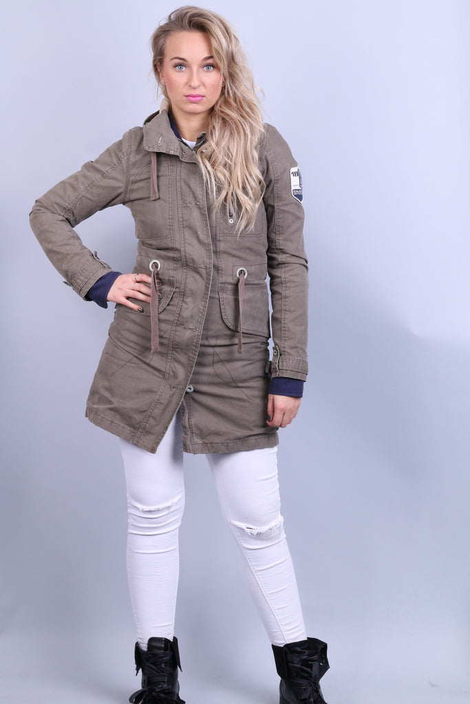 Gaastra Womens XS Jacket Parka Hood Khaki Pockets Cotton - RetrospectClothes