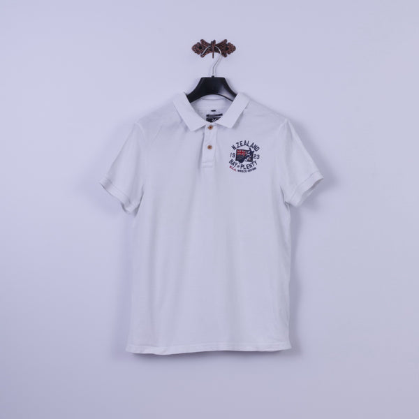 New Zealand Auckland Mens L Polo Shirt White Cotton Heritage Fit Classic Wreck Diving