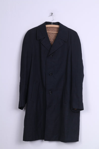 Dale Laminert Mens MCoat Single Breasted Padded Navy Vintage