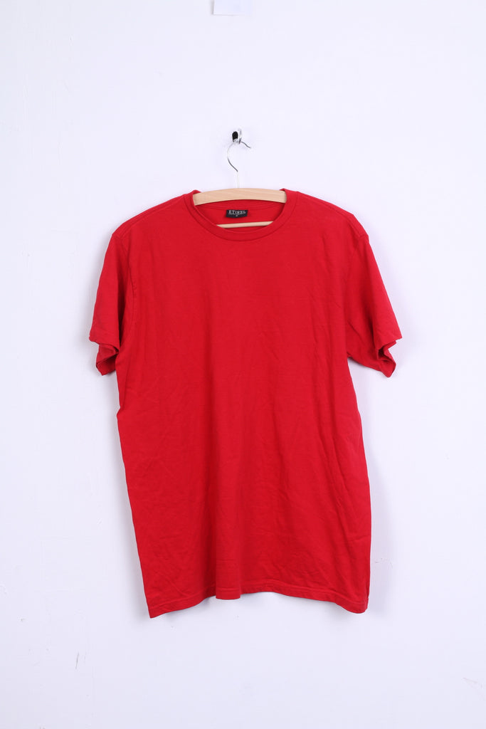 ETIREL Mens M T-Shirt Red Cotton Crew Neck Short Sleeve