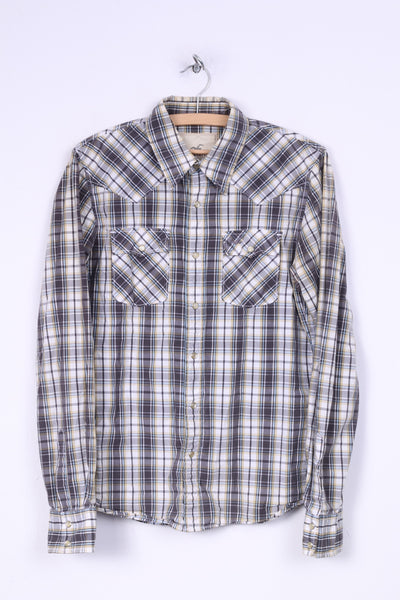 Hollister Mens S Casual Shirt Check Grey Cotton Snap Button Pocket Long Sleeve
