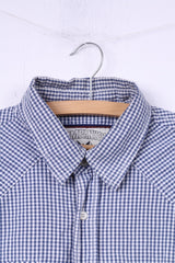 Company 81 Mens L Casual Shirt Blue White Check Cotton Long Sleeve