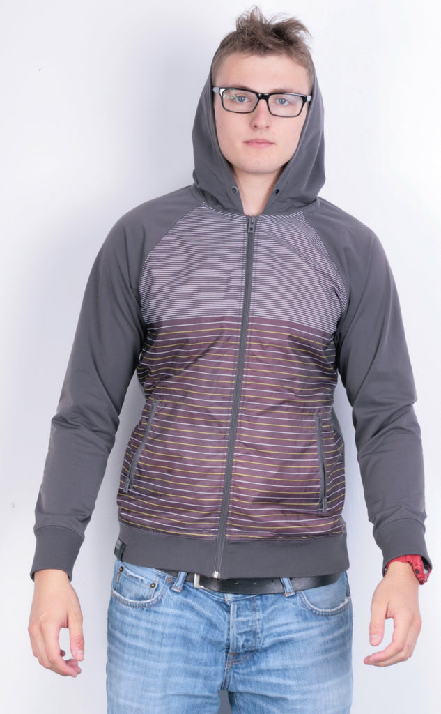 Reserved Mens M Jacket Brown Full Zipper Hood Striped Waterproof - RetrospectClothes