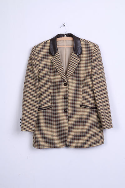 Creation Atelier GS Womens 42 XL Blazer Jacket Houndstooth Brown Single Breasted