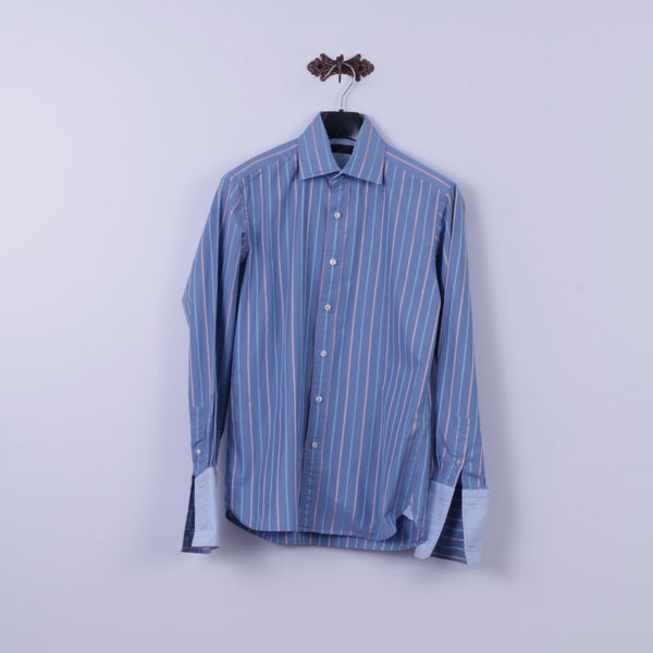 Ted Baker Mens 15.5 S Casual Shirt Blue Striped 100% Cototn Detailed Buttons Cuff Top