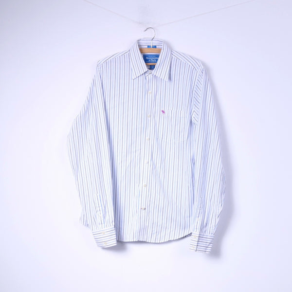 Abercrombie & Fitch Mens XL Casual Shirt White Striped Cotton Top Muscle