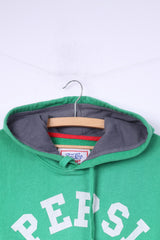 Pepsi-Cola Mens M Sweatshirt Green Big Logo Green Hooded Top Cotton