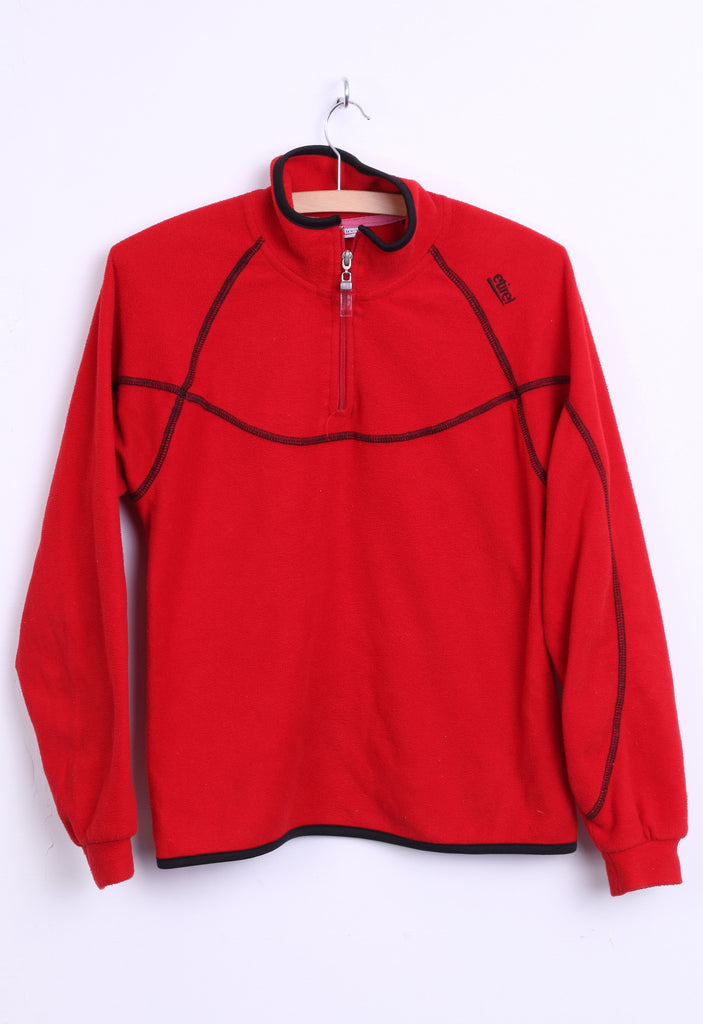 Etirel Womens S/M Fleece Top Jacket Red Zip Neck Sweatshirt - RetrospectClothes