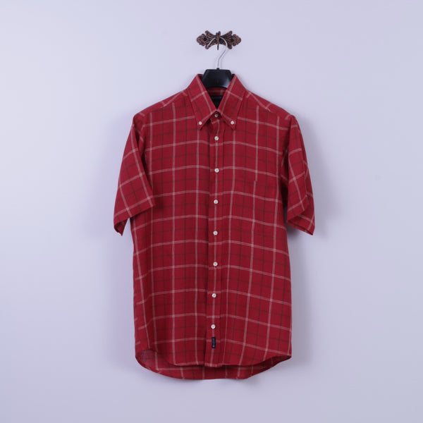 GANT Mens L Casual Shirt Red Check Long Island Dress Fit 100% Linen Top