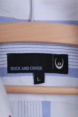 Duck and Cover Mens L Casual Shirt Point Collar Striped White Cotton