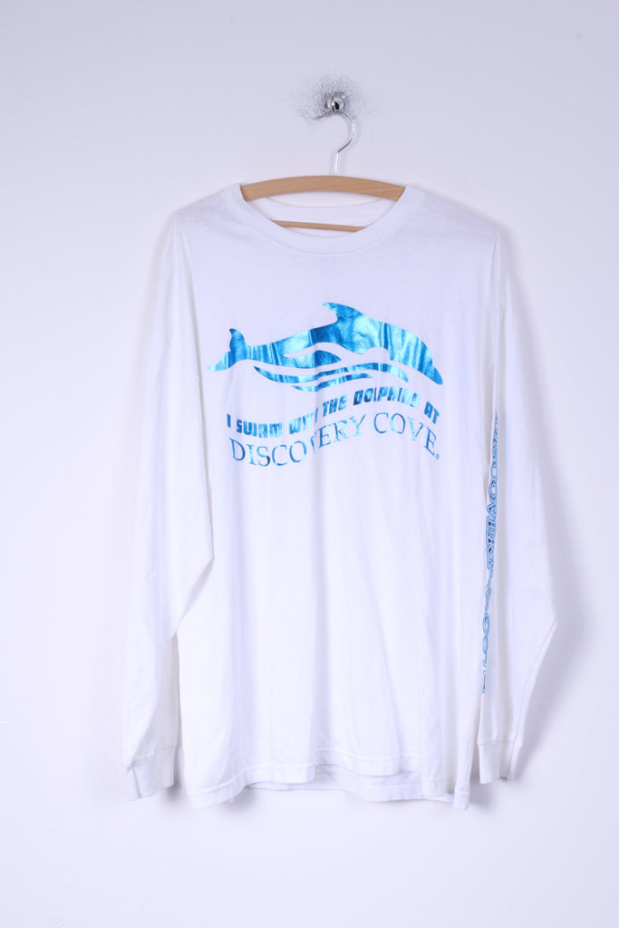 Discovery Cove Mens XL Shirt White Long Sleeve Cotton Dolphins Graphic