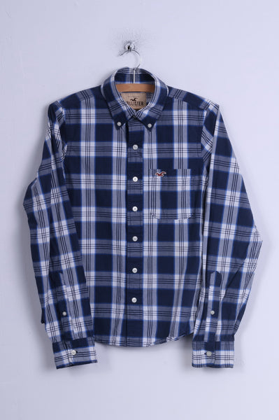 Hollister Mens S Casual Shirt Check Blue Long Sleeve Cotton Button Down Collar