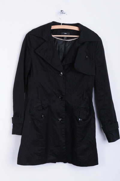 H&M Womens M Jacket Coat Black Long Single Breasted - RetrospectClothes