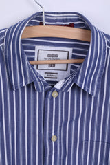 BIG STAR Mens S Casual Shirt Blue Striped Normal Fit Cotton