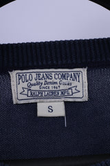 Polo Jeans Company Ralph Lauren Mens S Jumper Navy Cotton Emroidered Sweater
