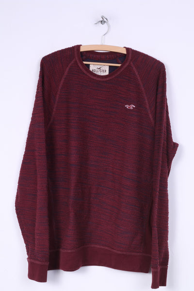Hollister California Mens L Sweater Crew Neck Burgundy Jumper Cotton Top