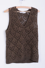 Biba Womens 3 M Sleeveless Brown Knitted Top Vest Retro - RetrospectClothes