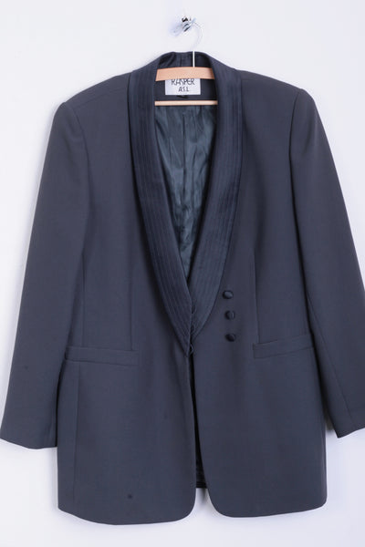 Kasper A.S.L. Womens 12 L Blazer Jacket Dark Green Top Suit Vintage - RetrospectClothes